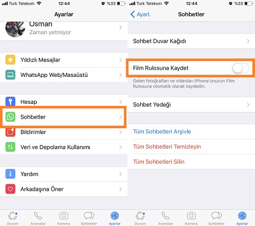 whatsapp iphone film rulosuna kaydet