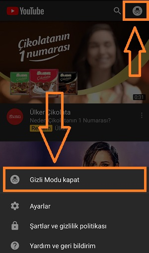 youtube gizli modu kapat