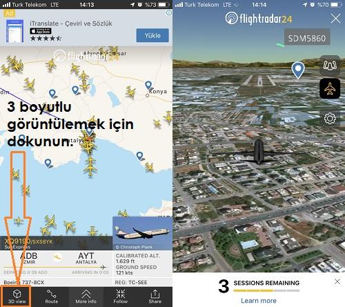 Flightradar24 3d goruntuleme