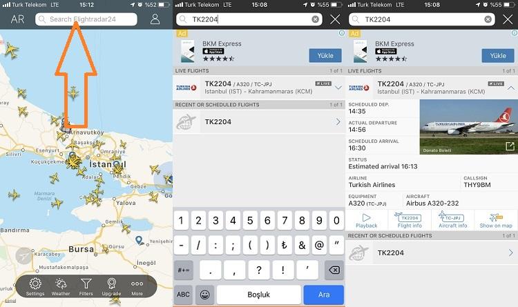 Flightradar24 ucus bilgisi ile ucus takibi
