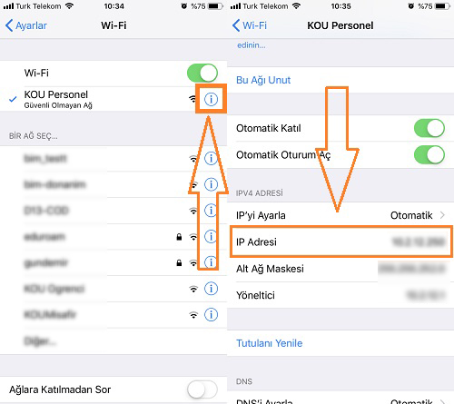 iphone wifi ip adresi