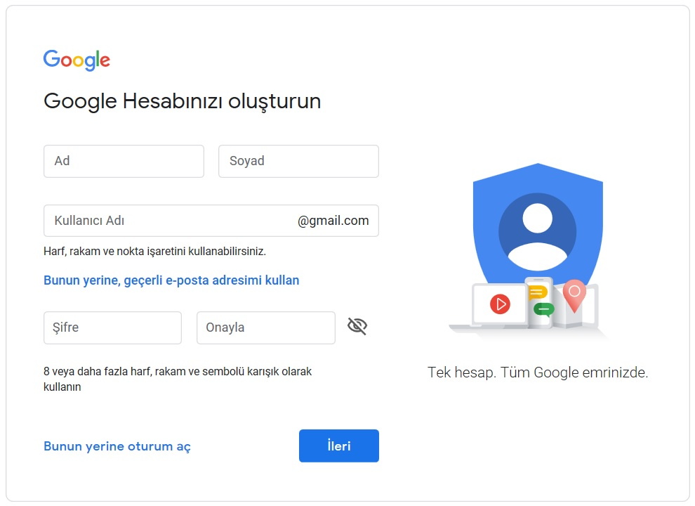 google gmail eposta acma