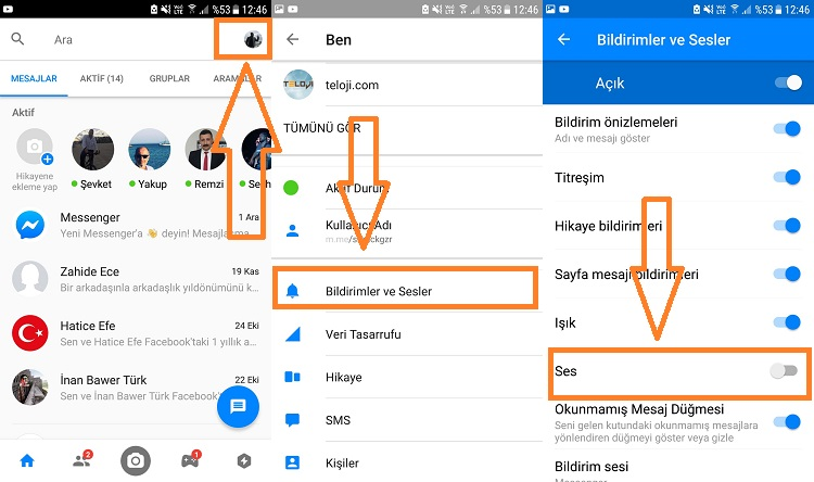 messenger sessize alma android
