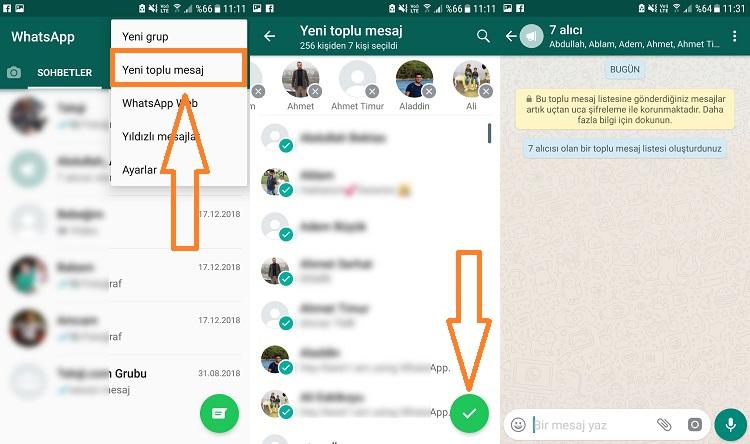 whatsapp toplu mesaj gonderme android