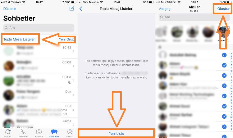 whatsapp toplu mesaj gonderme iphone