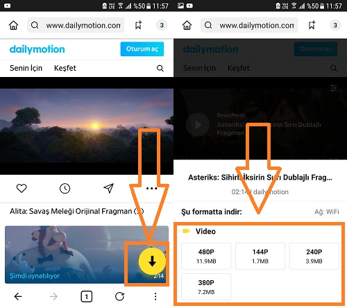 dailymotion video indirme snaptube