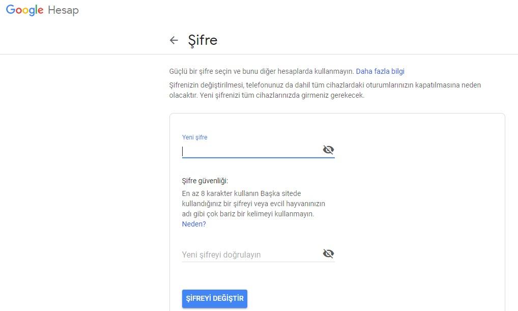 gmail sifre degistir