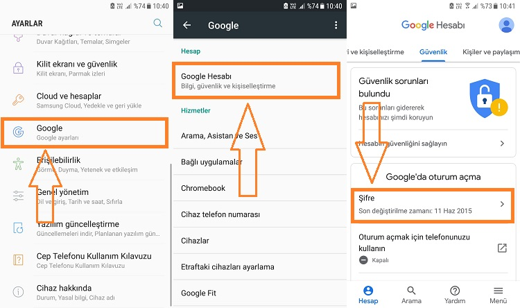 gmail sifre degistirme android