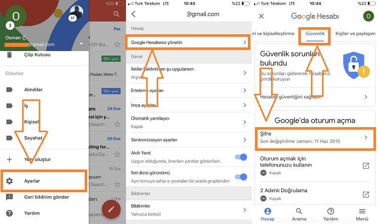 gmail sifre degistirme iphone