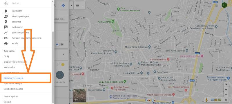 google haritalar eksik bir yeri ekleyin