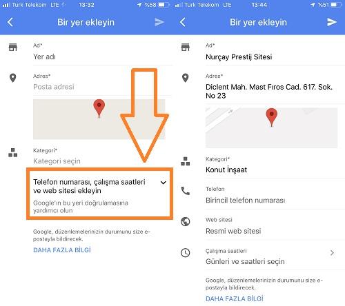 google haritalar telefon website ekleme