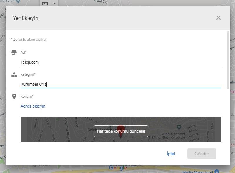 google haritalar yer ekleyin