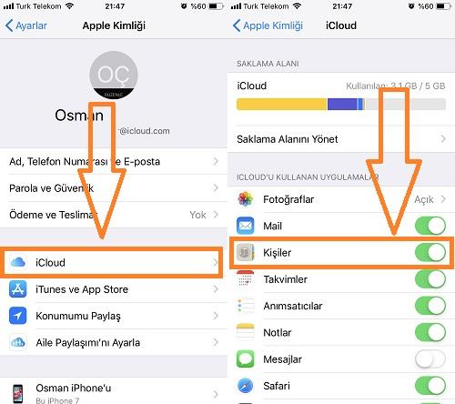 iphone icloud kisiler