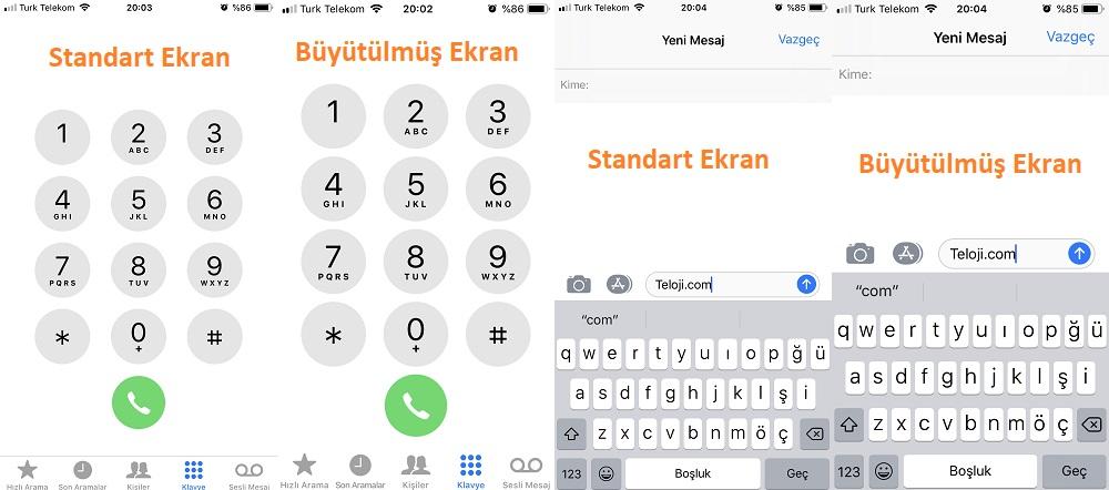iphone standart ve buyutulmus ekran
