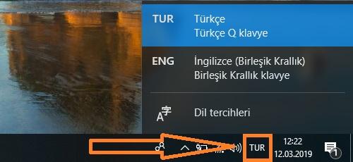 turkce klavye windows