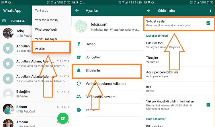 whatsapp bildirim sesi android