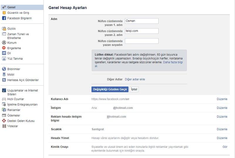 facebook isim degistirme bilgisayar
