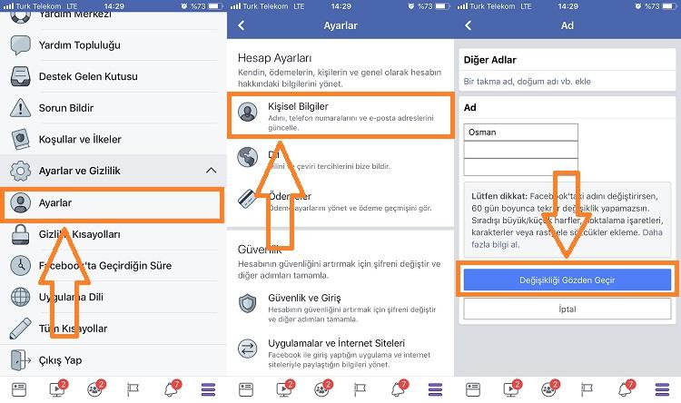 facebook isim degistirme mobil