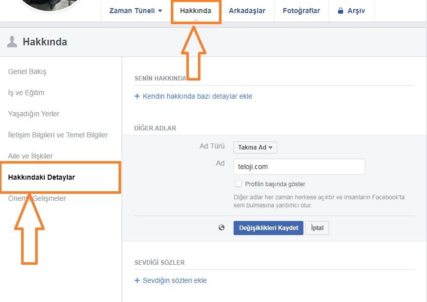 facebook takma ad ekleme