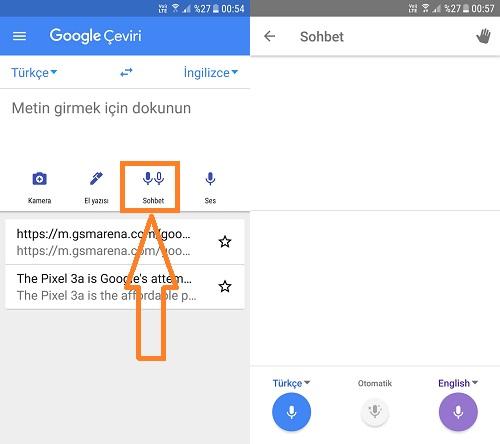 google translate sohbet ceviri
