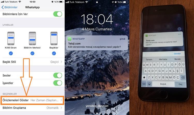 whatsapp kilit ekraninda mesaj cevaplama