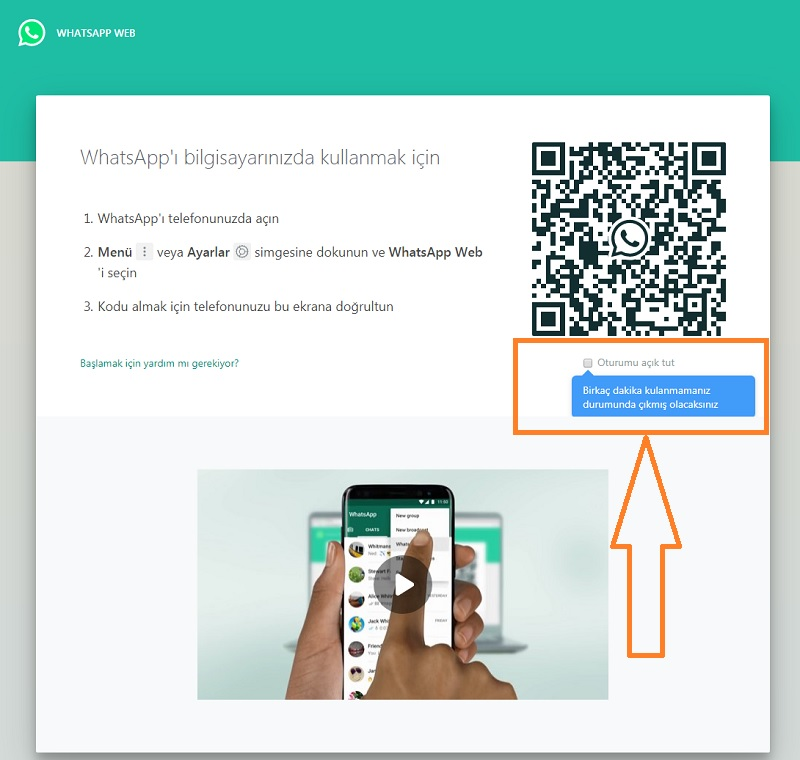 whatsapp web oturumu acik tutma