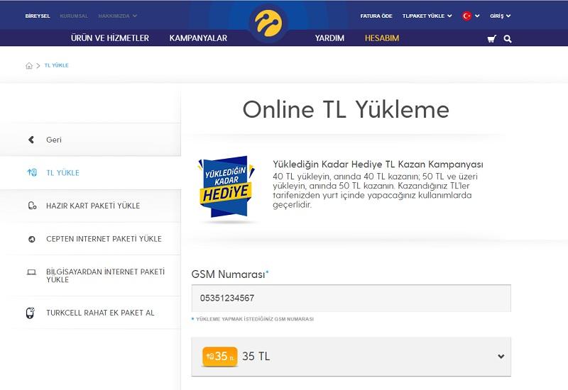 turkcell online tl yukleme