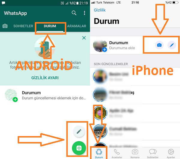 whatsapp durum paylasma android ve iphone