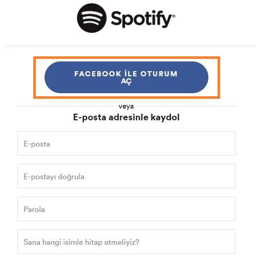 spotify facebook ile oturum ac