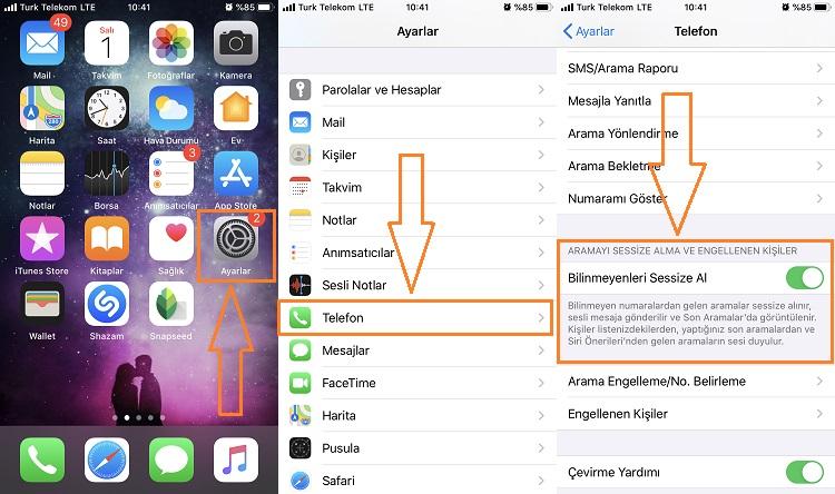 iphone rehberde olmayan numaralari engelleme