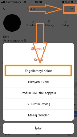 instagram engel kaldirma menu