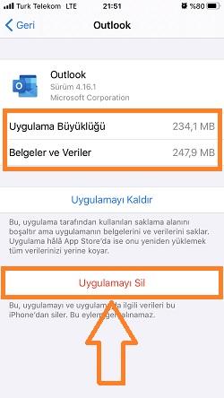 iphone uygulamayi sil