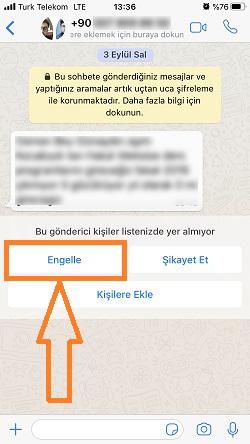 whatsapp bilinmeyen numara engelleme