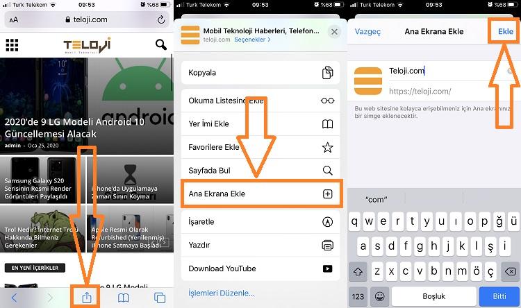 iphone website kisayolu ekleme