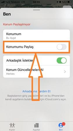 iphone bul konumumu paylasma