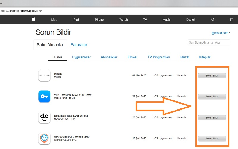 app store para iadesi sorun bildir