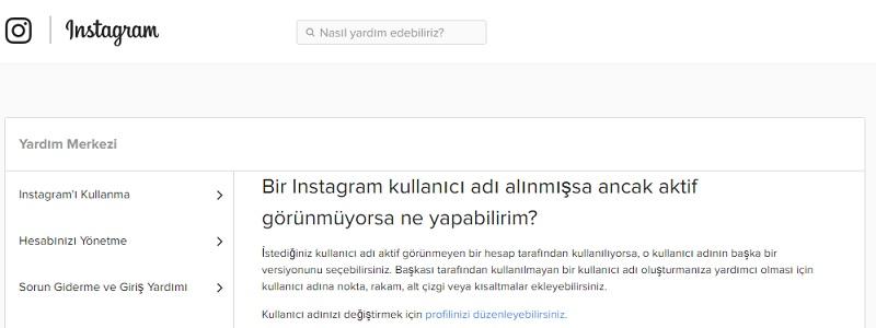 instagram kullanici adi alinmis