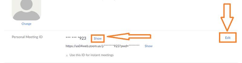 zoom personal meeting id degistirme