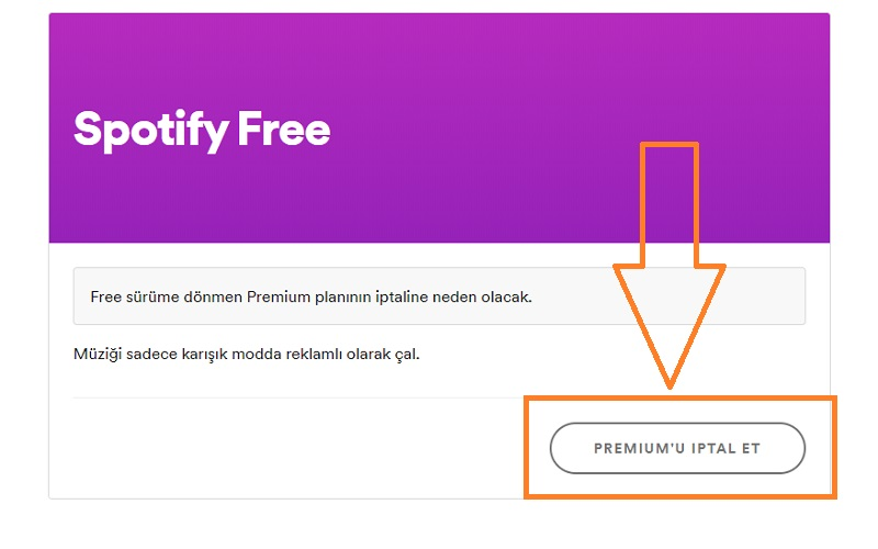 spotify premiumu iptal et