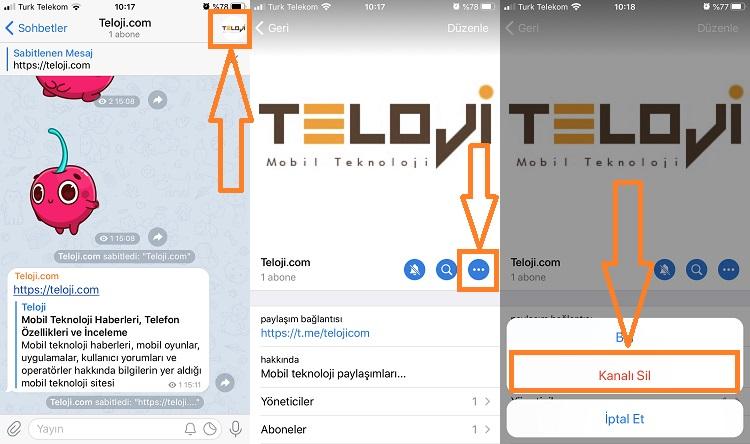telegram kanal silme