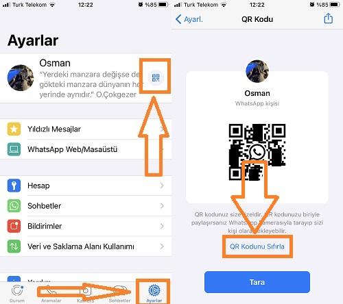 whatsapp qr kod sifirlama iphone
