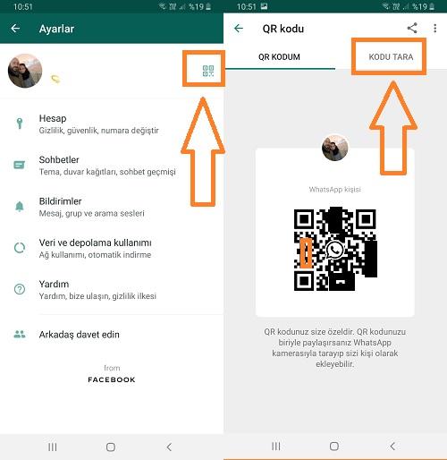 whatsapp qr kodu tarama android