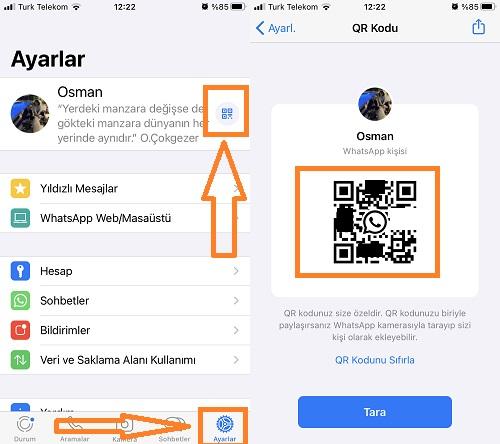 whatsapp qr kodum nerede