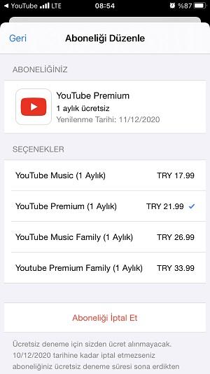 youtube premium fiyati