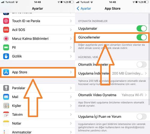 app store otomatik guncelleme