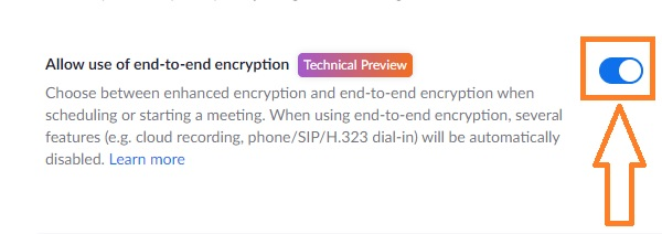 zoom allow use of end to end encryption