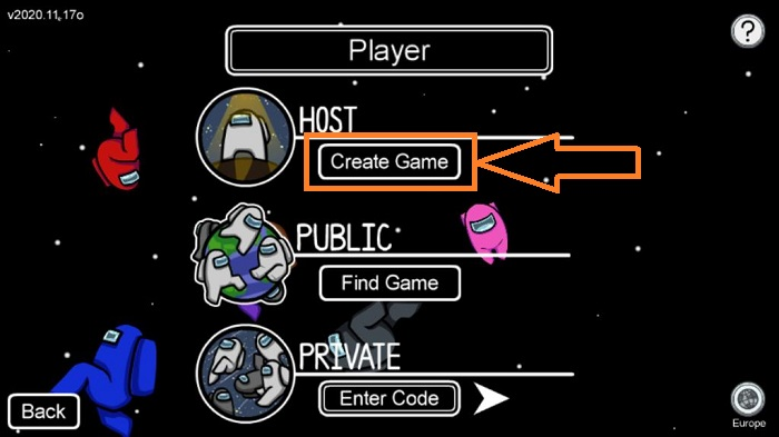 among us host create game