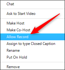 zoom manage participants more allow record