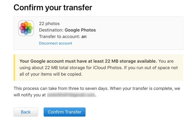 icloud google foto transfer confirm transfer