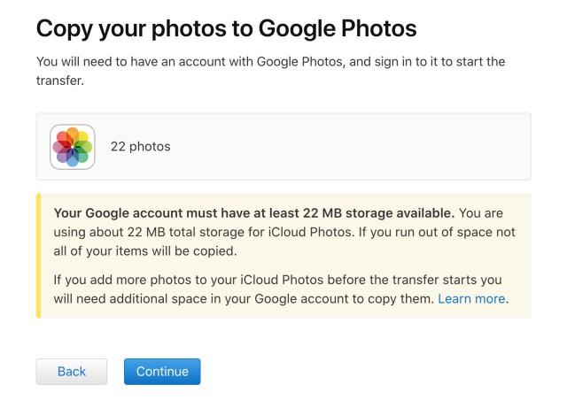 icloud google foto transfer continue